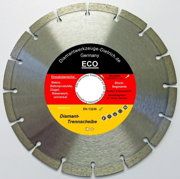 eco diamant trennscheibe 115 230 mm w hlbar betonprodukte mauerwerkihr zuverl ssiger partner. Black Bedroom Furniture Sets. Home Design Ideas