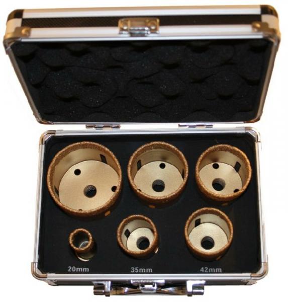 set 16 7 tlg m14 bohrkronen 20 68 mm feinsteinzeug granit glasfliesen vakuumihr. Black Bedroom Furniture Sets. Home Design Ideas